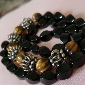 Vintage Onyx~Tigers eye necklace